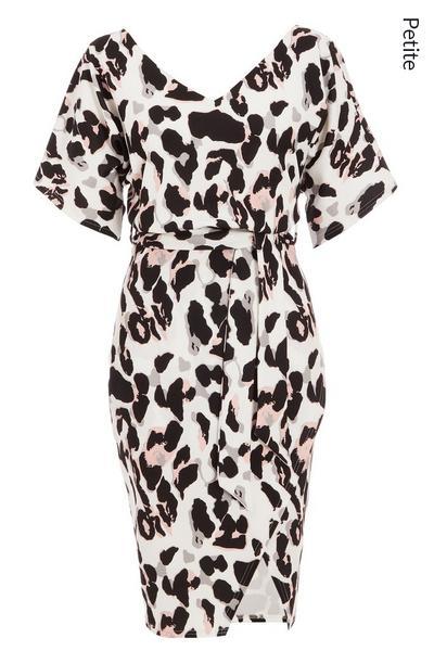 Petite White Leopard Print Midi Dress
